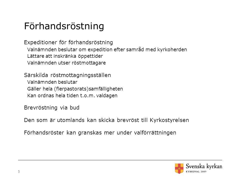 36 Särskilt röstmottagningsställe - utrustning Valskärm Valurna/motsvarande Blanka valsedlar Plats för nomineringsgruppers valsedlar för alla val i församl./samf.