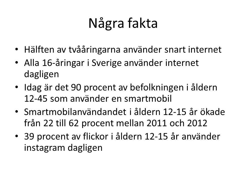 Några fakta Hälften av tvååringarna använder snart internet Alla 16-åringar i Sverige använder internet dagligen Idag är det 90 procent av befolkningen i åldern 12-45 som använder en smartmobil Smartmobilanvändandet i åldern 12-15 år ökade från 22 till 62 procent mellan 2011 och 2012 39 procent av flickor i åldern 12-15 år använder instagram dagligen