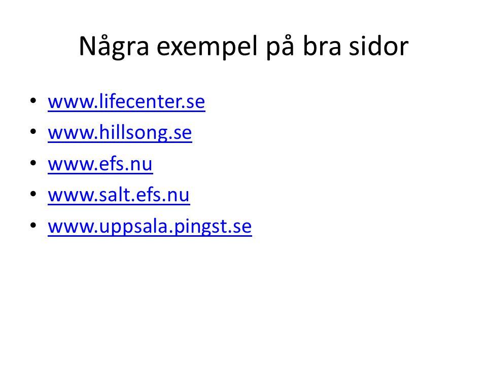 Några exempel på bra sidor www.lifecenter.se www.hillsong.se www.efs.nu www.salt.efs.nu www.uppsala.pingst.se