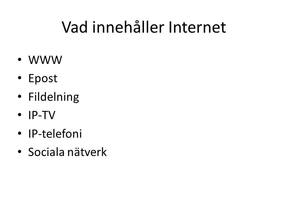 Vad innehåller Internet WWW Epost Fildelning IP-TV IP-telefoni Sociala nätverk