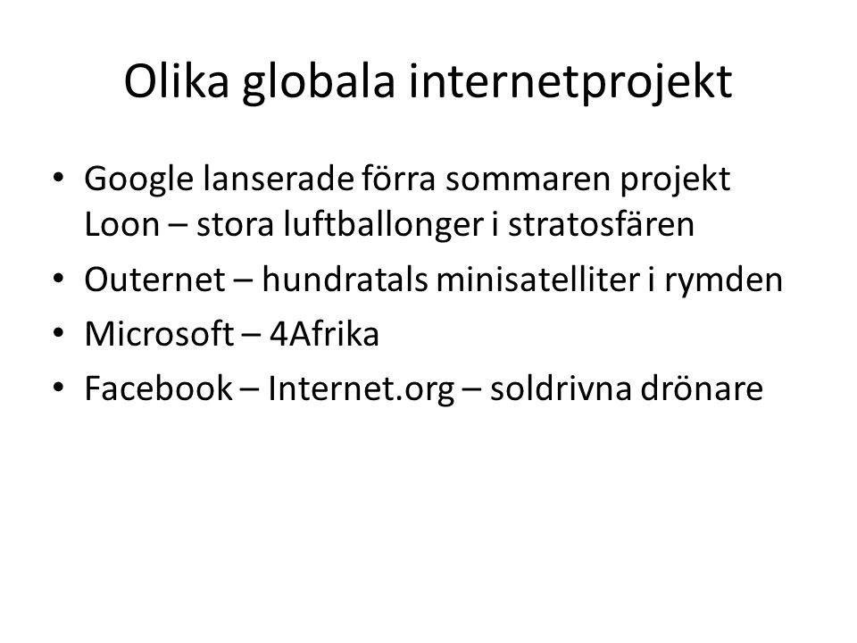 Olika globala internetprojekt Google lanserade förra sommaren projekt Loon – stora luftballonger i stratosfären Outernet – hundratals minisatelliter i rymden Microsoft – 4Afrika Facebook – Internet.org – soldrivna drönare