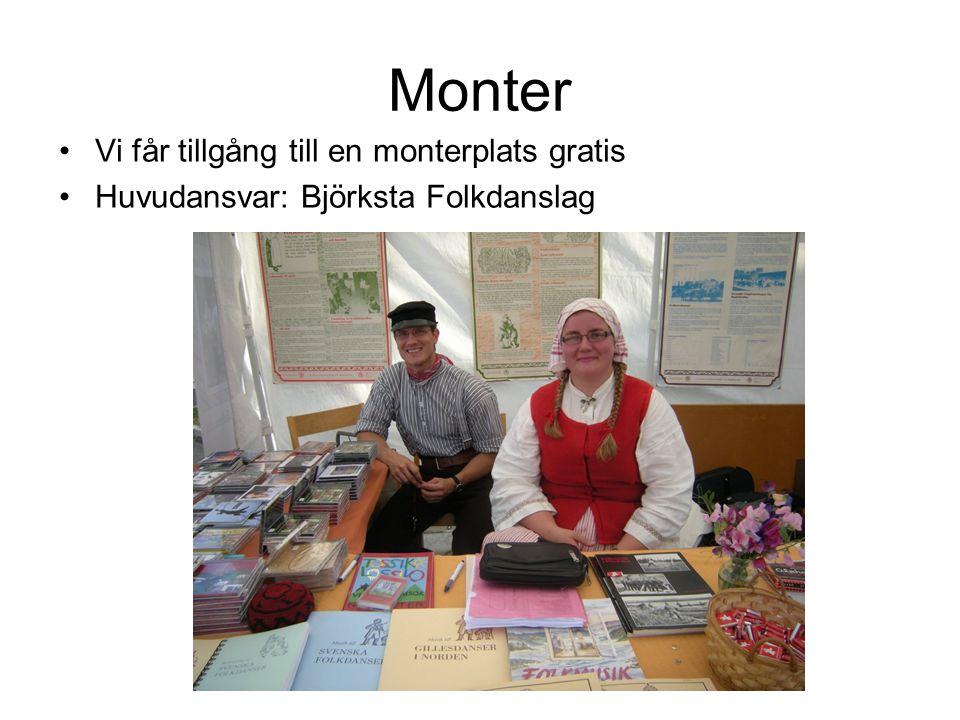 Monter Vi får tillgång till en monterplats gratis Huvudansvar: Björksta Folkdanslag