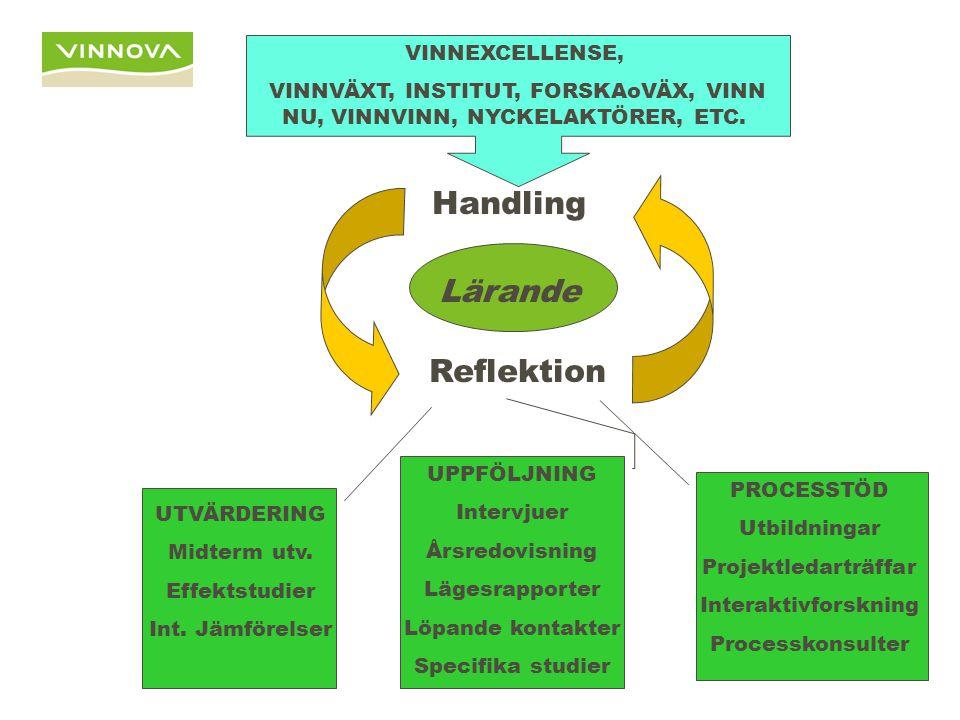 Handling Reflektion Lärande VINNEXCELLENSE, VINNVÄXT, INSTITUT, FORSKAoVÄX, VINN NU, VINNVINN, NYCKELAKTÖRER, ETC.