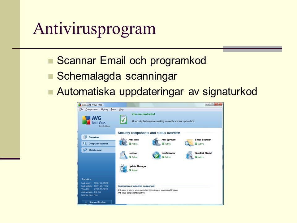 Antivirusprogram Scannar Email och programkod Schemalagda scanningar Automatiska uppdateringar av signaturkod
