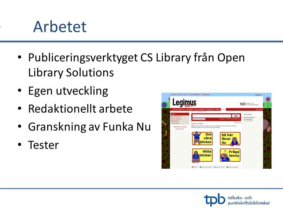 Arbetet Publiceringsverktyget CS Library från Open Library Solutions Egen utveckling Redaktionellt arbete Granskning av Funka Nu Tester