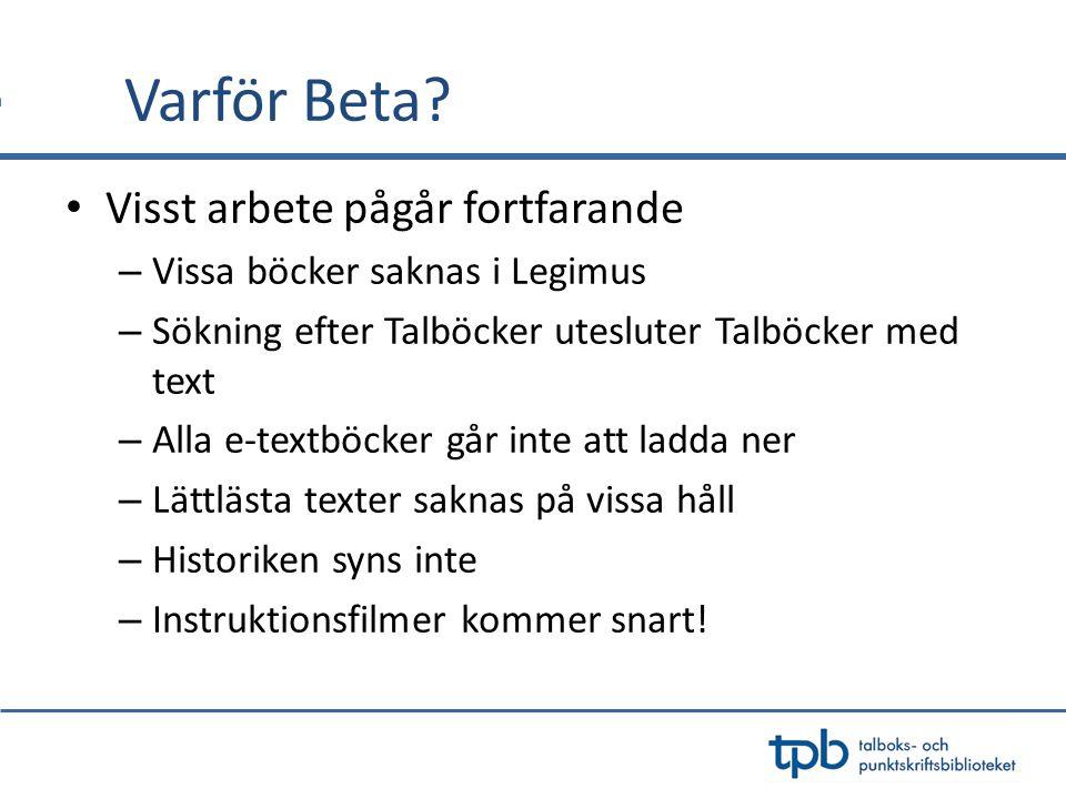 o Maria Hamrin, Projektledare maria.hamrin@tpb.se o Åsa Wallström, IT-bibliotekarie asa.wallstrom@tpb.se Följ oss via: www.tpb.se www.legimus.se Facebook: facebook.com/tpb.se Twitter: @TPBse Bibliotek för alla Nyhetsbrev TACK!