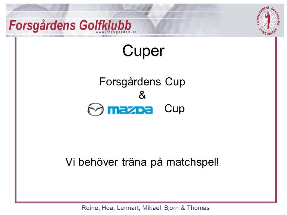 Cuper Roine, Hoa, Lennart, Mikael, Björn & Thomas Forsgårdens Cup & Cup Vi behöver träna på matchspel! Cuper