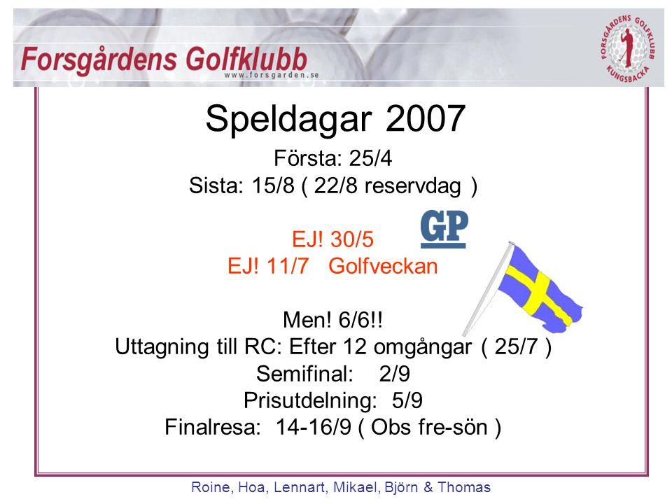 Roine, Hoa, Lennart, Mikael, Björn & Thomas Företrädestider onsdag 14:00 – 18:00 08:00 – 09:00* Bokas måndag kl 8:00; via tele/reception 8:00-9:00 Nytt förslag 08:00-08:30 därefter via terminal/golf.se Bokningsregler Onsdagsgolf *) Starttiderna kl 08:00-09:00 finns ej tillgängliga de dagar klubben har företags- eller sponsortävlingar.