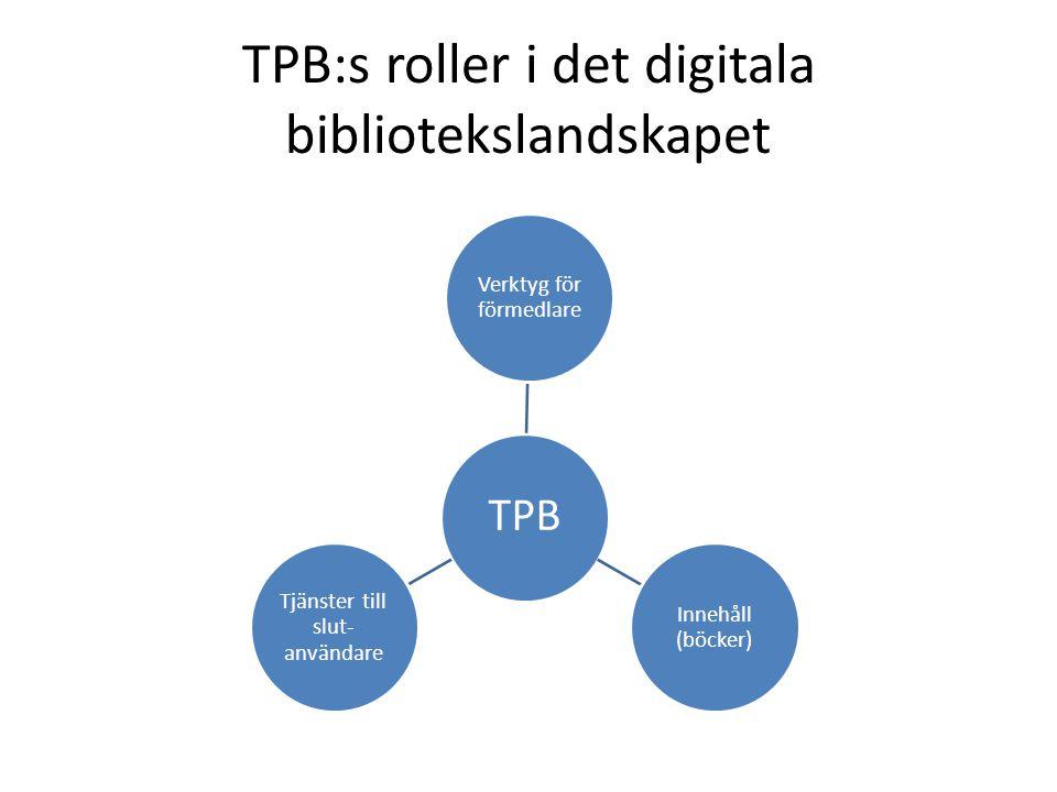 TPB:s roller i det digitala bibliotekslandskapet TPB Verktyg för förmedlare Innehåll (böcker) Tjänster till slut- användare