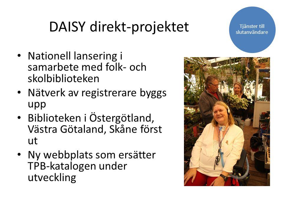 DAISY direkt-projektet Nationell lansering i samarbete med folk- och skolbiblioteken Nätverk av registrerare byggs upp Biblioteken i Östergötland, Väs