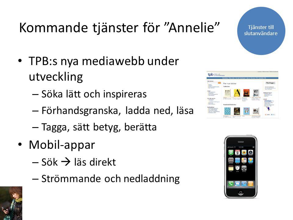 """Kommande tjänster för """"Annelie"""" TPB:s nya mediawebb under utveckling – Söka lätt och inspireras – Förhandsgranska, ladda ned, läsa – Tagga, sätt betyg"""
