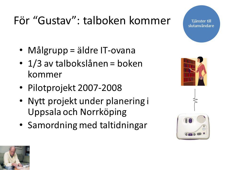 Målgrupp = äldre IT-ovana 1/3 av talbokslånen = boken kommer Pilotprojekt 2007-2008 Nytt projekt under planering i Uppsala och Norrköping Samordning m
