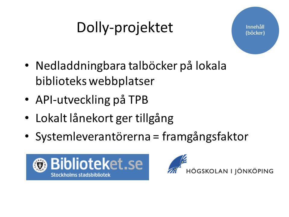 Dolly-projektet Nedladdningbara talböcker på lokala biblioteks webbplatser API-utveckling på TPB Lokalt lånekort ger tillgång Systemleverantörerna = f