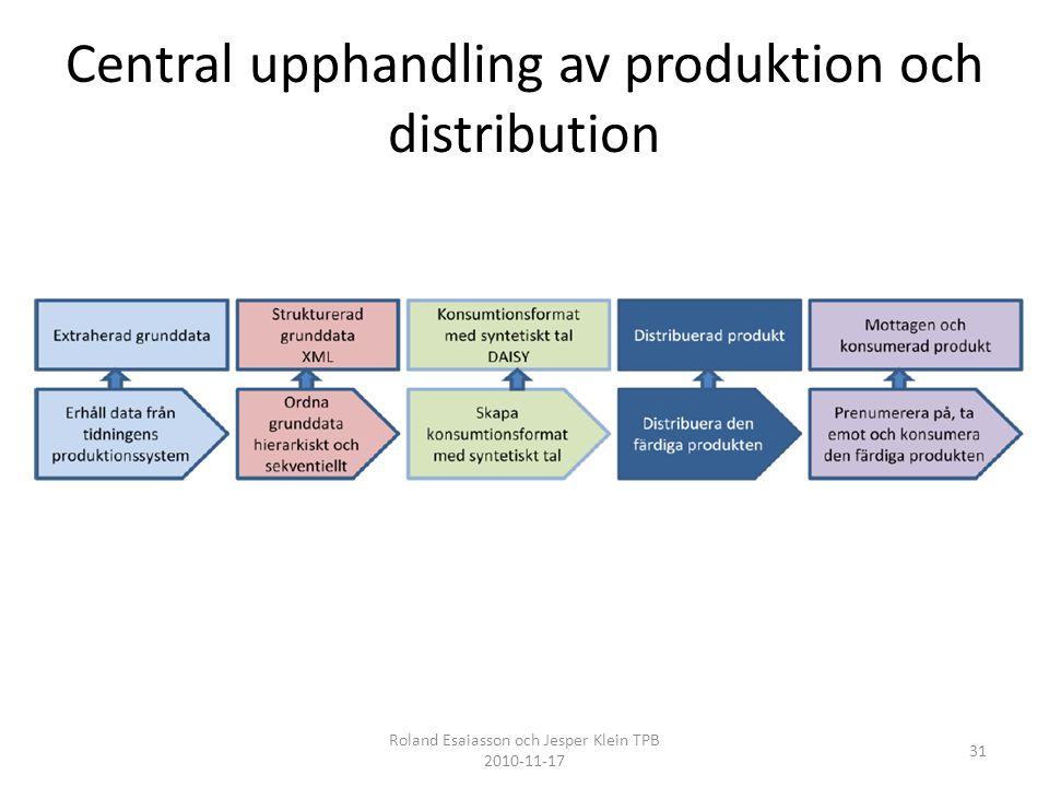 Central upphandling av produktion och distribution 31 Roland Esaiasson och Jesper Klein TPB 2010-11-17