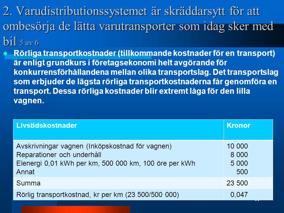 2. Varudistributionssystemet är skräddarsytt för att ombesörja de lätta varutransporter som idag sker med bil 5 av 6 Rörliga transportkostnader (tillk