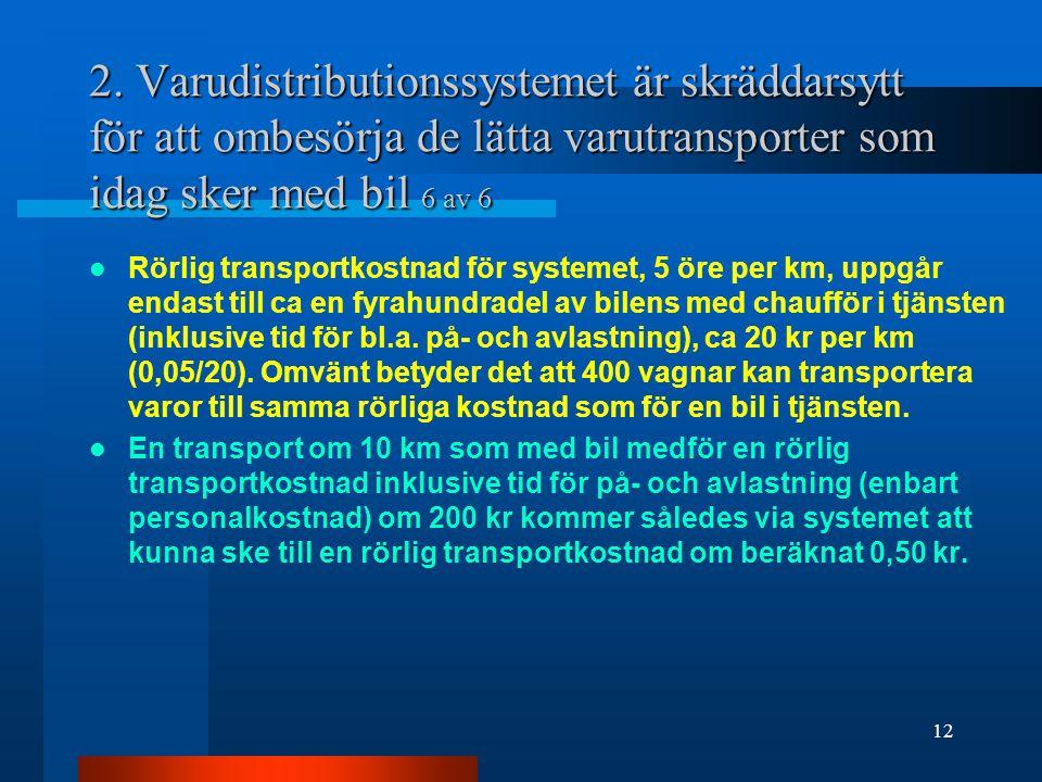 2. Varudistributionssystemet är skräddarsytt för att ombesörja de lätta varutransporter som idag sker med bil 6 av 6 Rörlig transportkostnad för syste