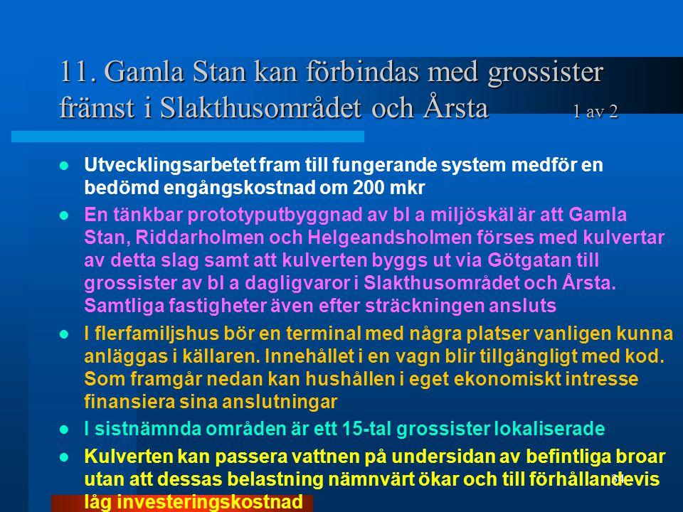 11. Gamla Stan kan förbindas med grossister främst i Slakthusområdet och Årsta 1 av 2 Utvecklingsarbetet fram till fungerande system medför en bedömd