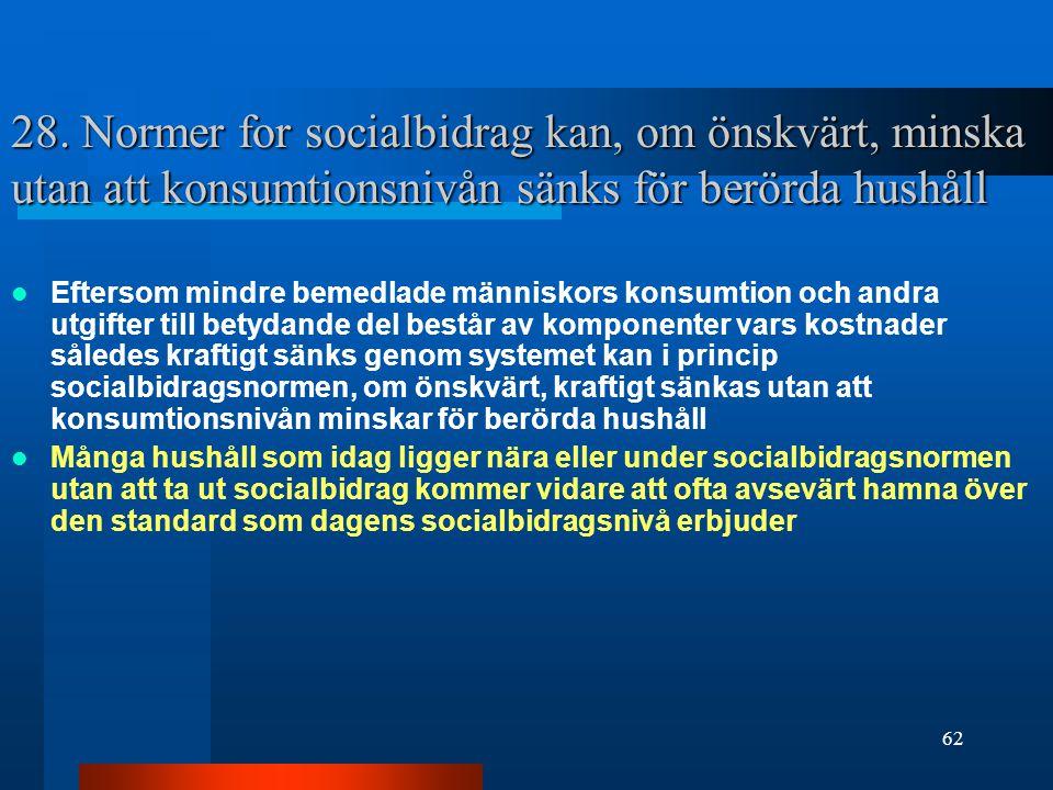 62 28. Normer for socialbidrag kan, om önskvärt, minska utan att konsumtionsnivån sänks för berörda hushåll Eftersom mindre bemedlade människors konsu