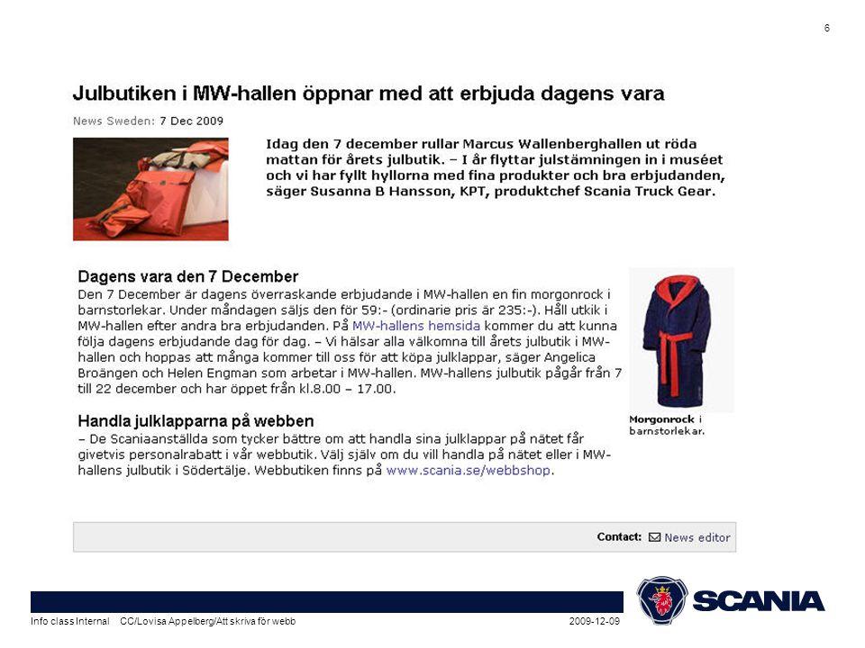 2009-12-09Info class Internal CC/Lovisa Appelberg/Att skriva för webb 6
