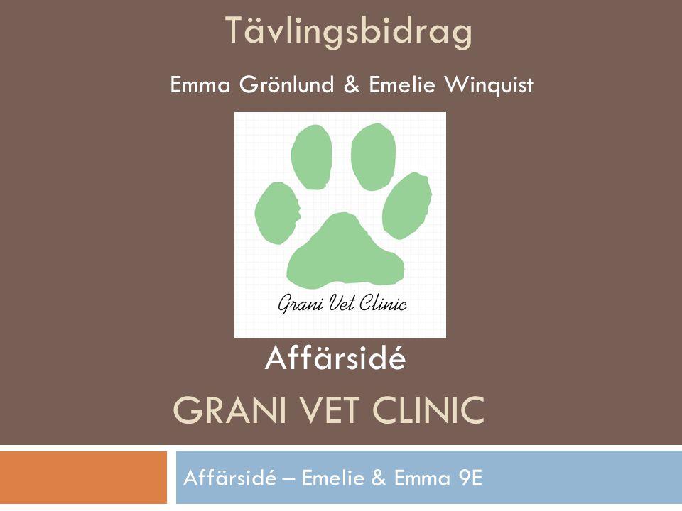 GRANI VET CLINIC Affärsidé – Emelie & Emma 9E Tävlingsbidrag Emma Grönlund & Emelie Winquist Affärsidé