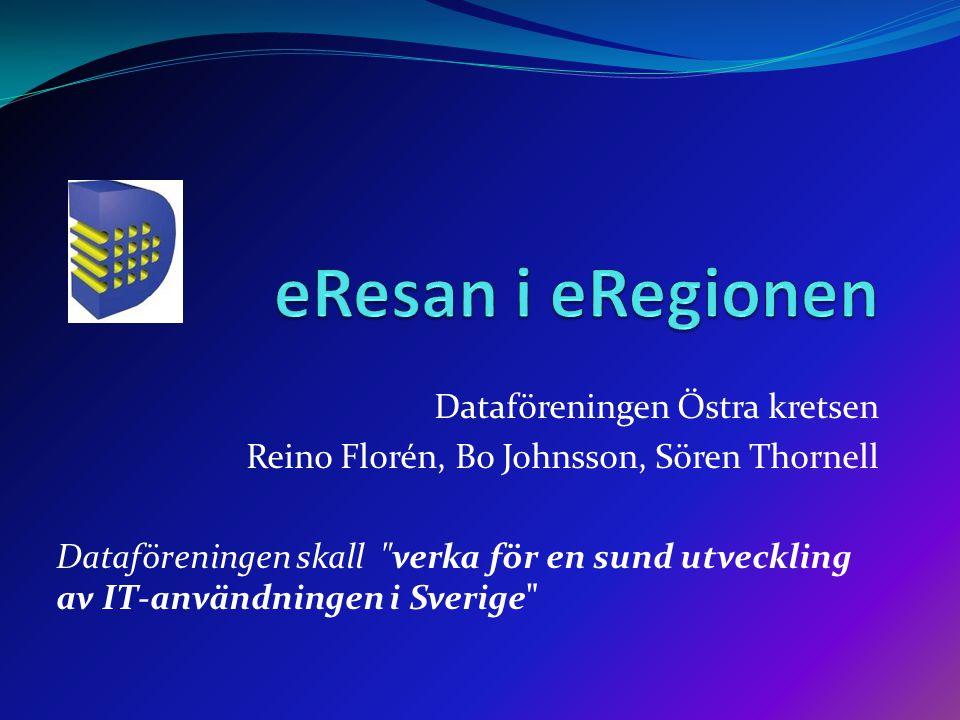 Dataföreningen Östra kretsen Reino Florén, Bo Johnsson, Sören Thornell Dataföreningen skall verka för en sund utveckling av IT-användningen i Sverige