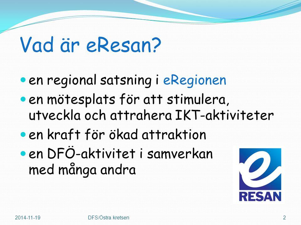Vad är eResan? en regional satsning i eRegionen en mötesplats för att stimulera, utveckla och attrahera IKT-aktiviteter en kraft för ökad attraktion e