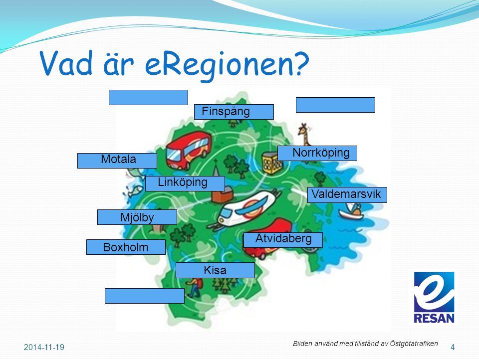 Vad är eRegionen? 2014-11-194 Mjölby Kisa Motala Norrköping Åtvidaberg Finspång Valdemarsvik Boxholm Bilden använd med tillstånd av Östgötatrafiken Li