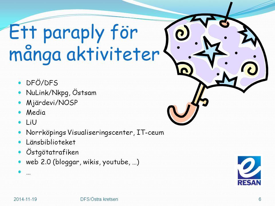 Ett paraply för många aktiviteter DFÖ/DFS NuLink/Nkpg, Östsam Mjärdevi/NOSP Media LiU Norrköpings Visualiseringscenter, IT-ceum Länsbiblioteket Östgötatrafiken web 2.0 (bloggar, wikis, youtube, …) … 2014-11-19DFS/Östra kretsen6