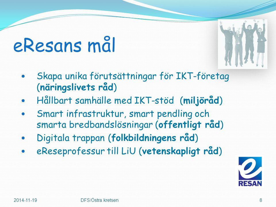 eResans mål Skapa unika förutsättningar för IKT-företag (näringslivets råd) Hållbart samhälle med IKT-stöd (miljöråd) Smart infrastruktur, smart pendling och smarta bredbandslösningar (offentligt råd) Digitala trappan (folkbildningens råd) eReseprofessur till LiU (vetenskapligt råd) 2014-11-19DFS/Östra kretsen8