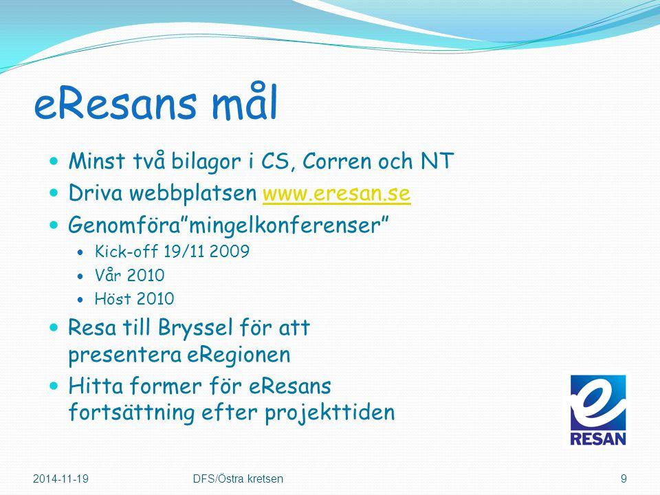 """eResans mål Minst två bilagor i CS, Corren och NT Driva webbplatsen www.eresan.sewww.eresan.se Genomföra""""mingelkonferenser"""" Kick-off 19/11 2009 Vår 20"""