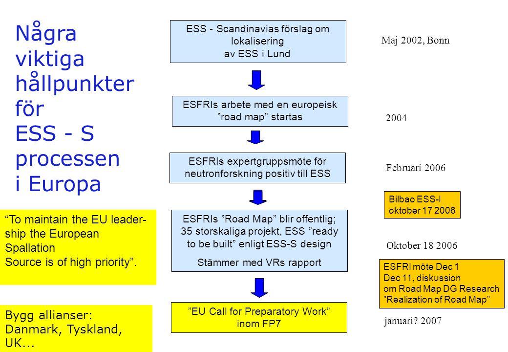 """ESS - Scandinavias förslag om lokalisering av ESS i Lund ESFRIs """"Road Map"""" blir offentlig; 35 storskaliga projekt, ESS """"ready to be built"""" enligt ESS-"""