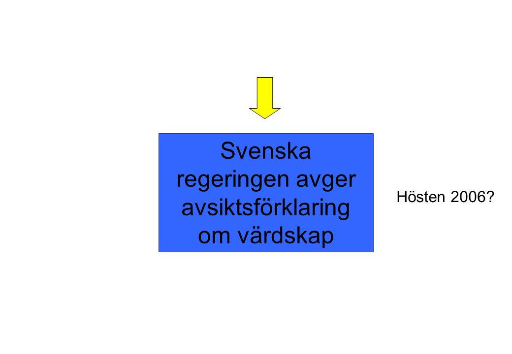 Svenska regeringen avger avsiktsförklaring om värdskap Hösten 2006?