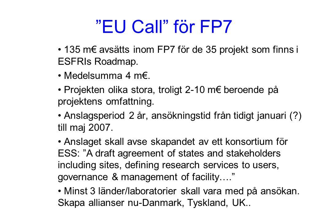 """""""EU Call"""" för FP7 135 m€ avsätts inom FP7 för de 35 projekt som finns i ESFRIs Roadmap. Medelsumma 4 m€. Projekten olika stora, troligt 2-10 m€ beroen"""