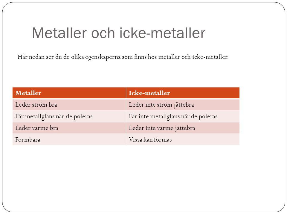 Metaller och icke-metaller MetallerIcke-metaller Leder ström braLeder inte ström jättebra Får metallglans när de polerasFår inte metallglans när de po