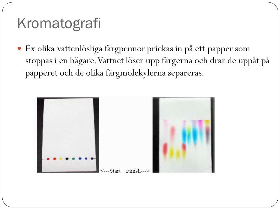 Kromatografi Ex olika vattenlösliga färgpennor prickas in på ett papper som stoppas i en bägare. Vattnet löser upp färgerna och drar de uppåt på pappe