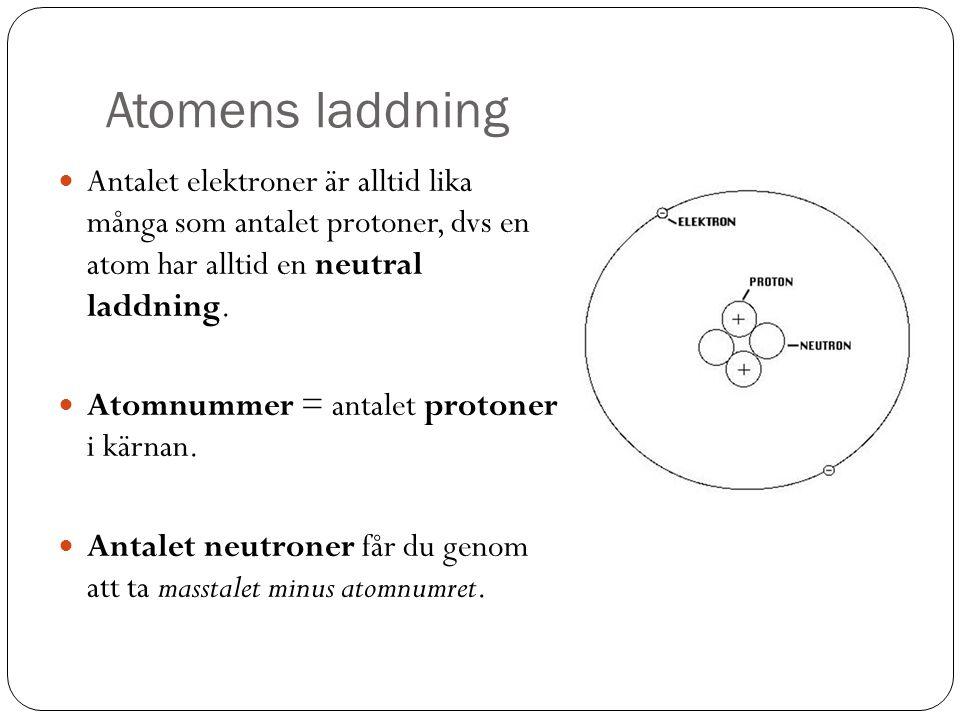 Atomens laddning Antalet elektroner är alltid lika många som antalet protoner, dvs en atom har alltid en neutral laddning. Atomnummer = antalet proton