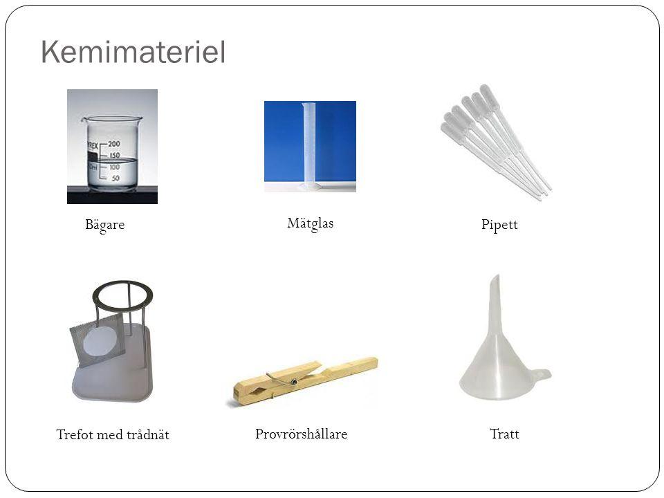 Kemimateriel Bägare Mätglas Pipett Tratt Trefot med trådnät Provrörshållare