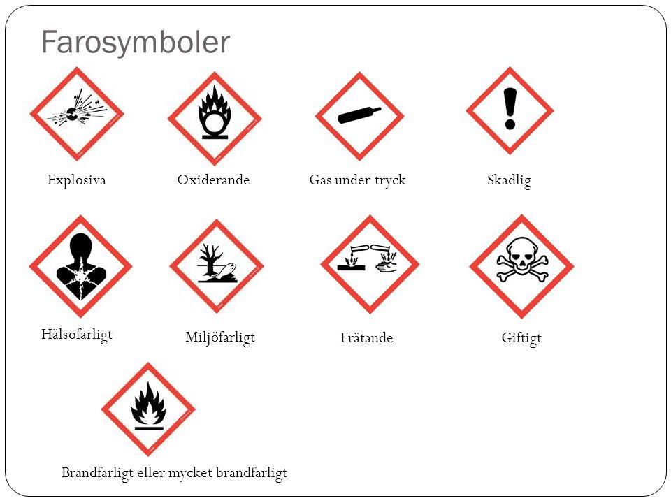 Farosymboler Explosiva Brandfarligt eller mycket brandfarligt OxiderandeGas under tryck FrätandeGiftigt Hälsofarligt Miljöfarligt Skadlig