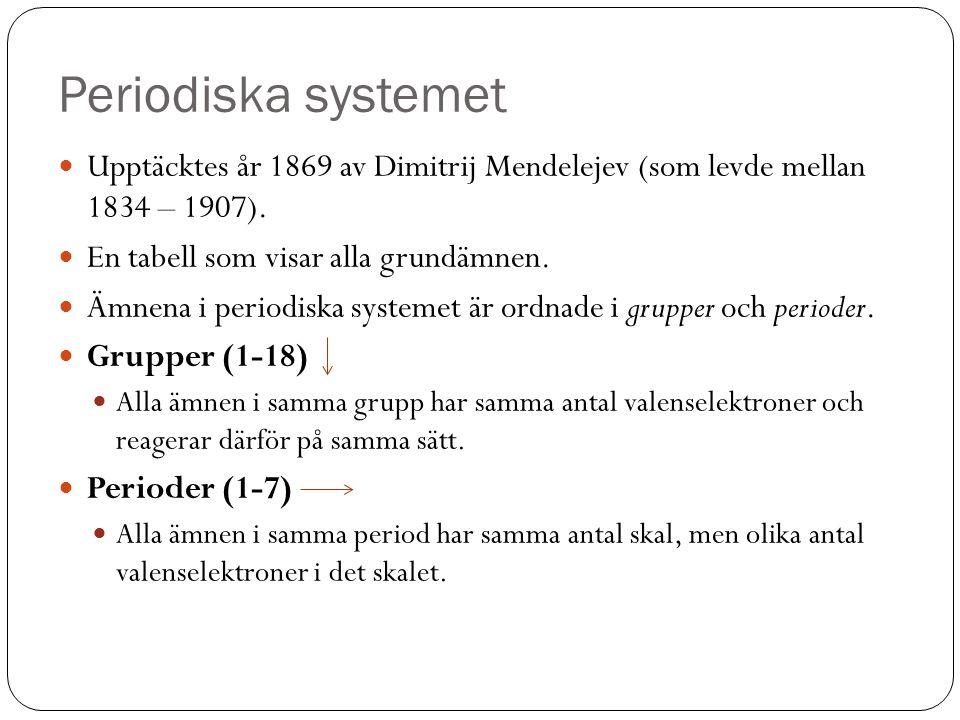 Periodiska systemet Upptäcktes år 1869 av Dimitrij Mendelejev (som levde mellan 1834 – 1907). En tabell som visar alla grundämnen. Ämnena i periodiska