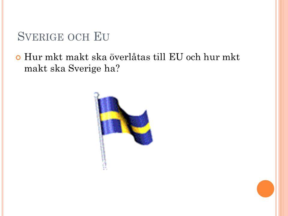 S VERIGE OCH E U Hur mkt makt ska överlåtas till EU och hur mkt makt ska Sverige ha