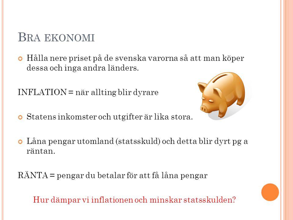 B RA EKONOMI Hålla nere priset på de svenska varorna så att man köper dessa och inga andra länders.