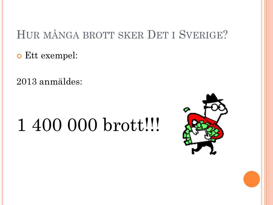 H UR MÅNGA BROTT SKER D ET I S VERIGE ? Ett exempel: 2013 anmäldes: 1 400 000 brott!!!