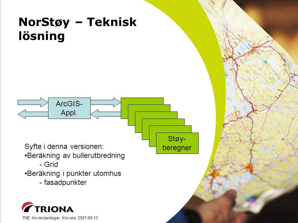TNE Användardagar, Knivsta, 2007-09-13 NorStøy – Teknisk lösning ArcGIS- Appl.