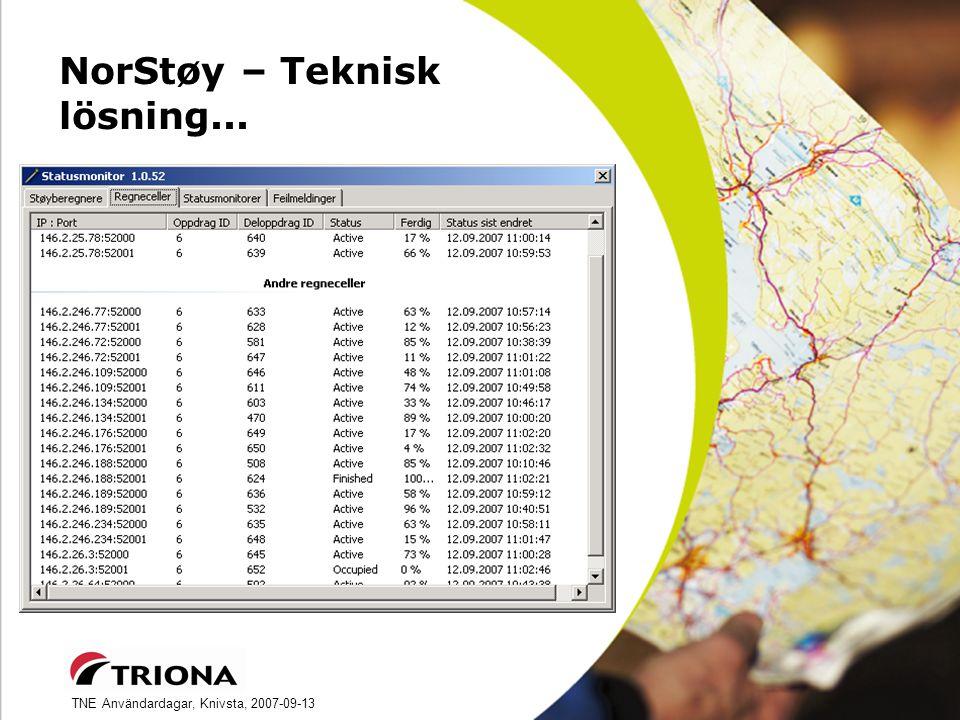 TNE Användardagar, Knivsta, 2007-09-13 NorStøy – Teknisk lösning...