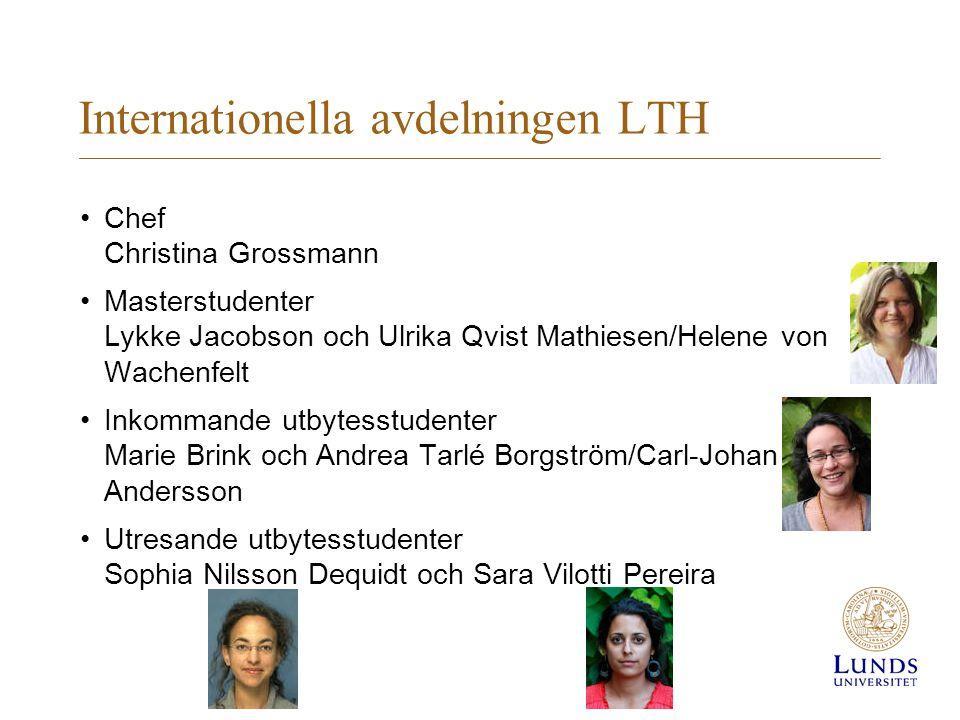 Internationella avdelningen LTH Chef Christina Grossmann Masterstudenter Lykke Jacobson och Ulrika Qvist Mathiesen/Helene von Wachenfelt Inkommande ut