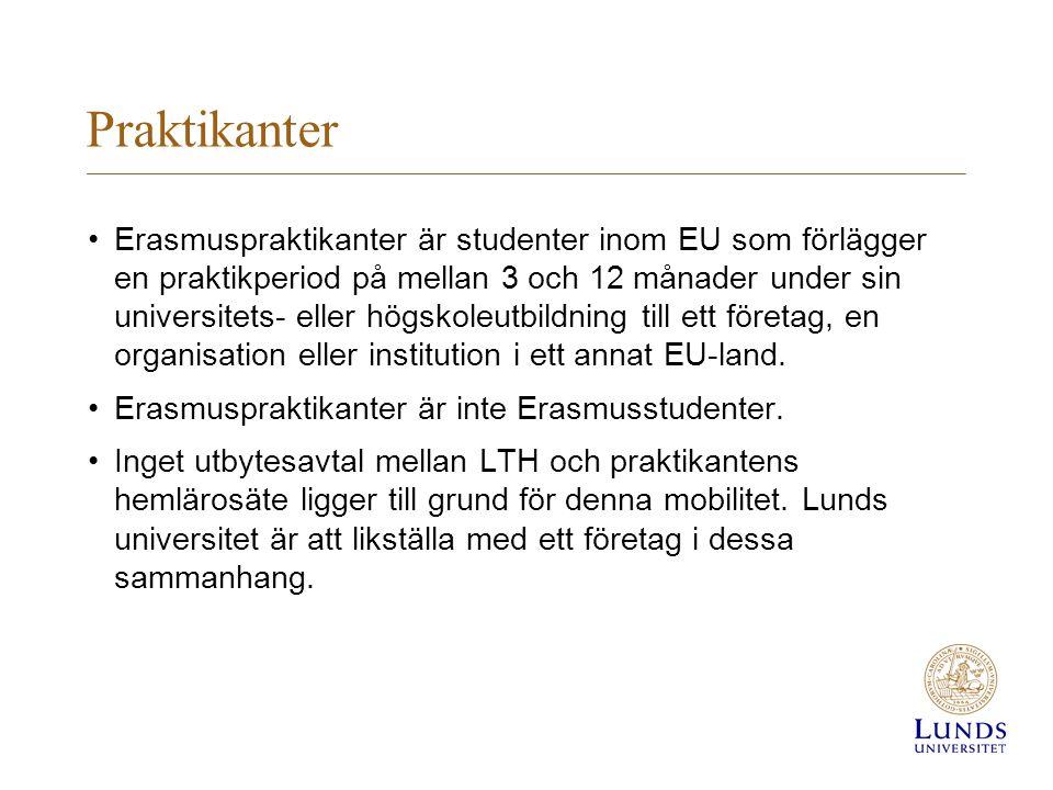 Praktikanter Erasmuspraktikanter är studenter inom EU som förlägger en praktikperiod på mellan 3 och 12 månader under sin universitets- eller högskoleutbildning till ett företag, en organisation eller institution i ett annat EU-land.