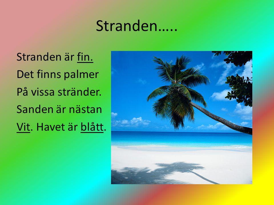 Stranden…..Stranden är fin. Det finns palmer På vissa stränder.