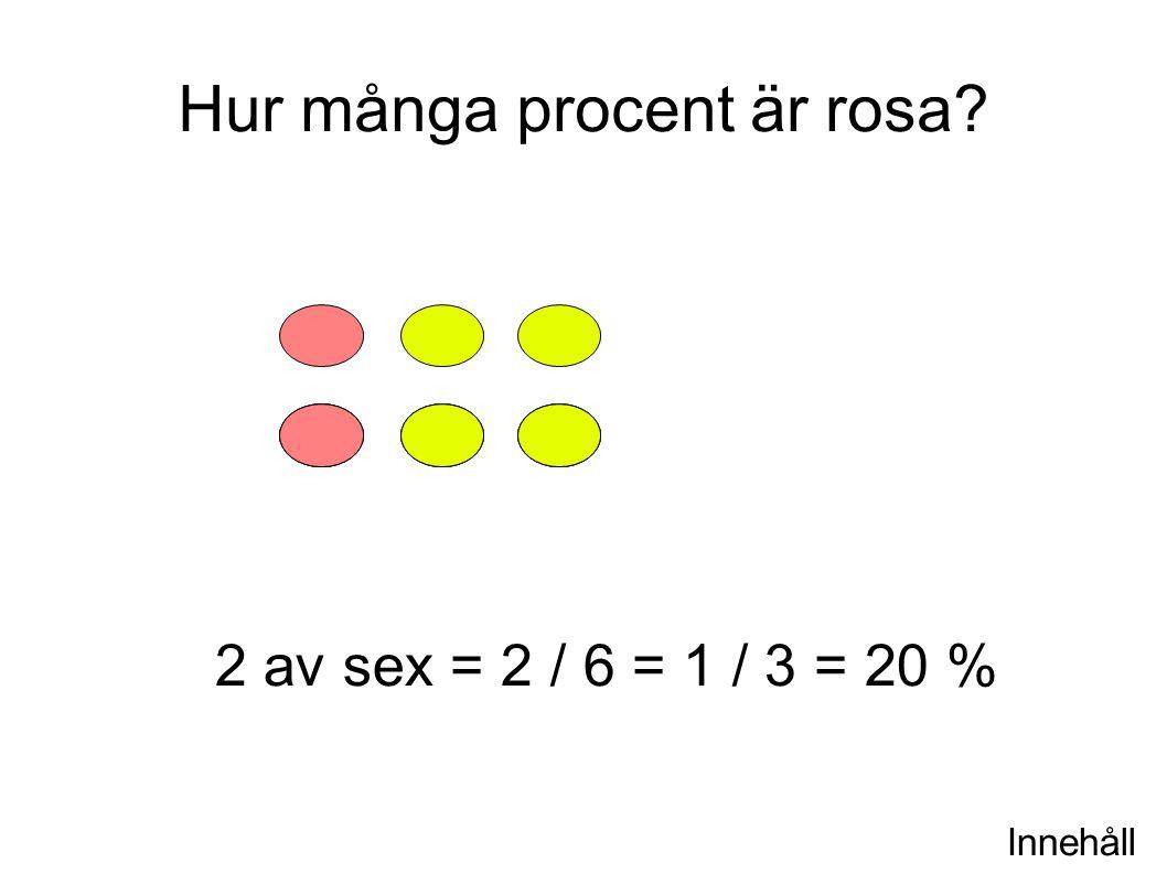 Innehåll Hur många procent är rosa? 2 av sex = 2 / 6 = 1 / 3 = 20 %