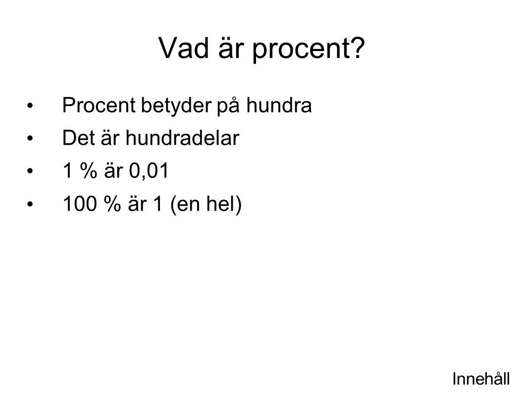 Innehåll Procent är andelen En procent är en hundradel Tio procent är en tiondel Så för det allra mesta är andelen mindre än det hela