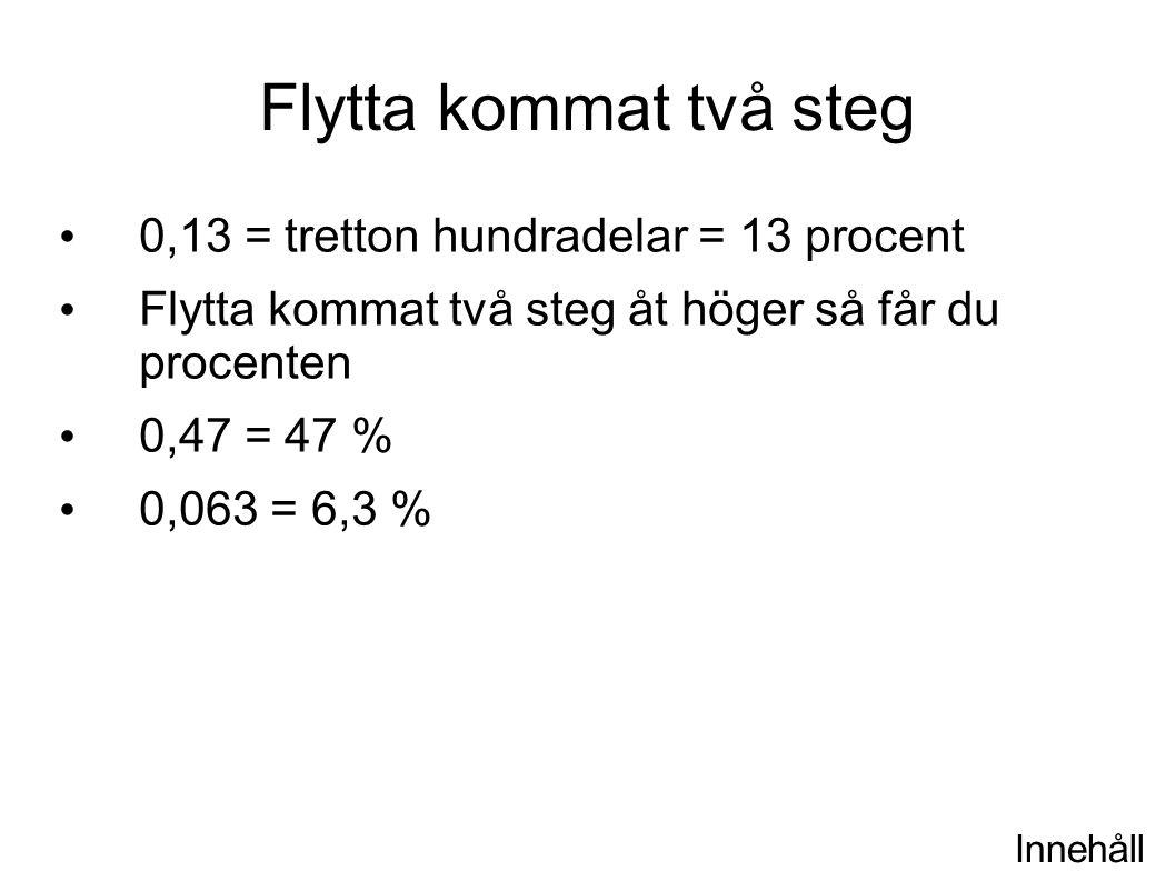 Innehåll Flytta kommat två steg 0,13 = tretton hundradelar = 13 procent Flytta kommat två steg åt höger så får du procenten 0,47 = 47 % 0,063 = 6,3 %